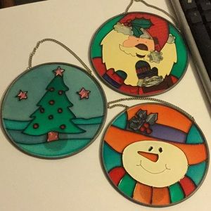 Lot of 3 Faux Stained Real Glass Holiday Decors